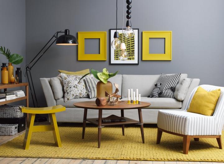 Cómo combinar el gris y el amarillo en la decoración