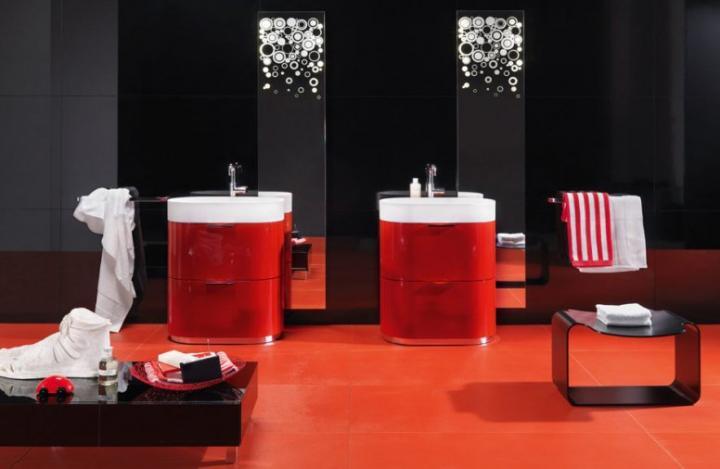 Inspiraci n para cuartos de ba o en rojo decoraci n del - Decoracion de cuartos de bano ...
