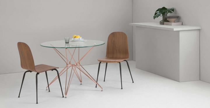 Mesa de cristal redonda cobre