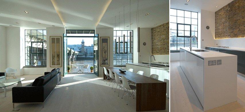 Antiguo almac n de londres convertido en un apartamento for Comedor estilo minimalista