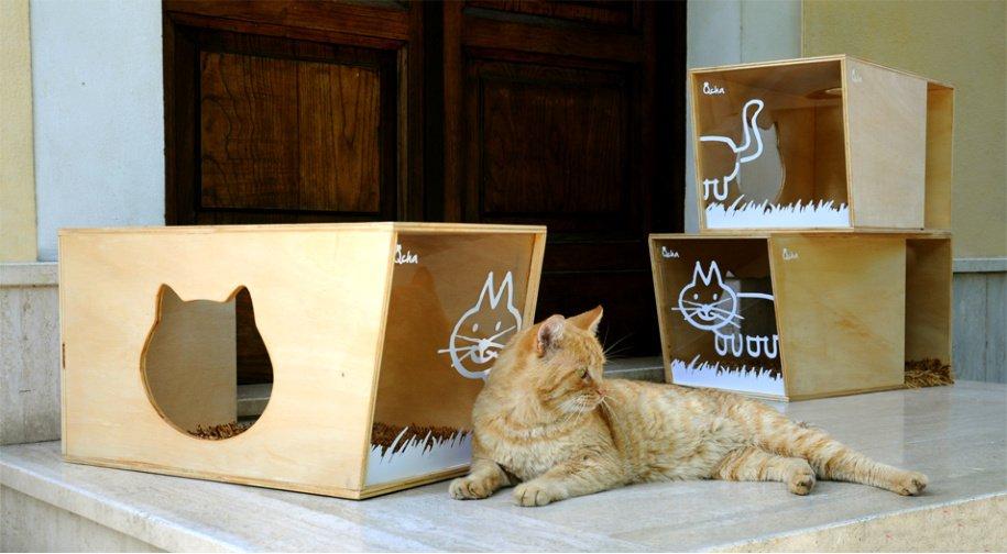 Hoy volvemos a ver una casa para gatos de diseño atractivo para ...