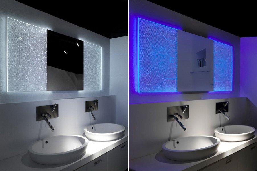 Espejos holotech crystals de elia felices decoraci n del for Espejos con luz integrada