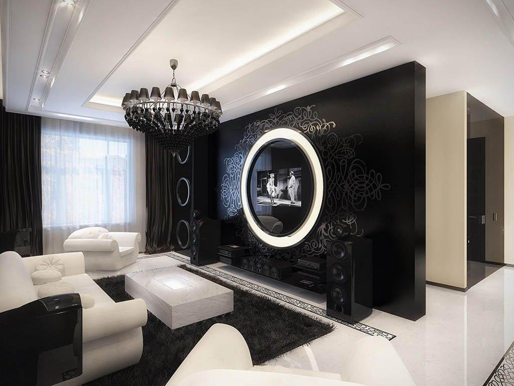 Дизайн комнаты черно-белая