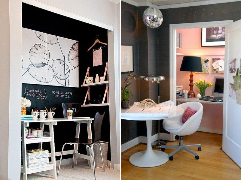 Crear un espacio de trabajo en el armario empotrado Decoracion de espacios de trabajo
