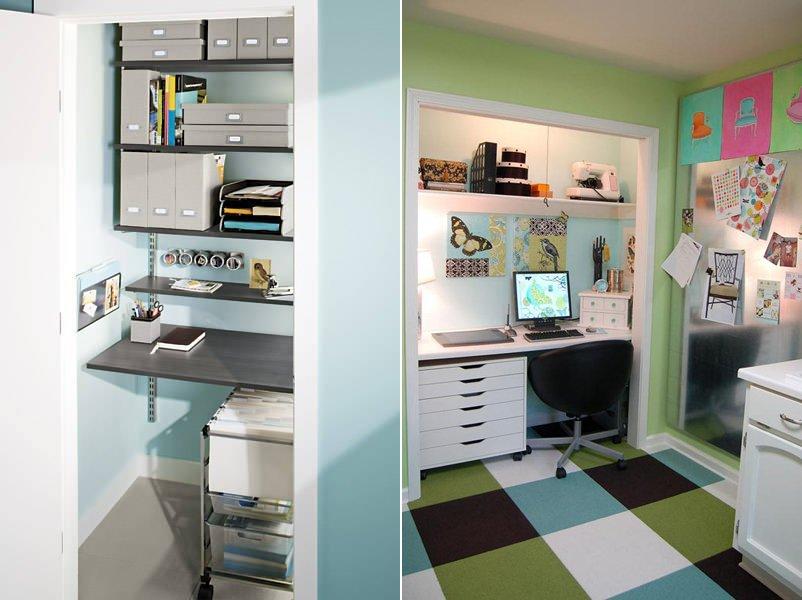 Crear un espacio de trabajo en el armario empotrado. Decoración del ...