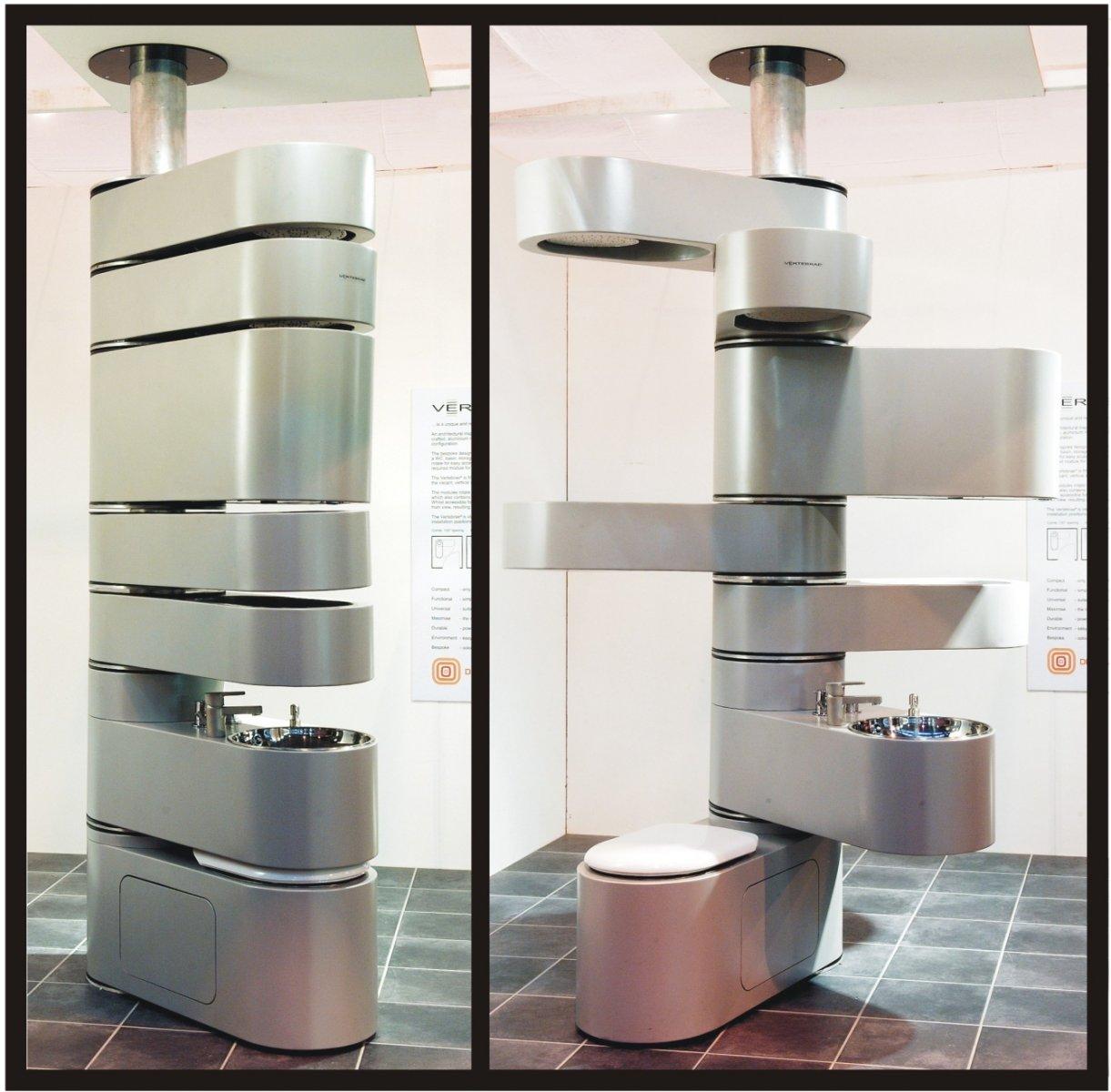 Cuarto de baño vertical. Decoración del hogar.