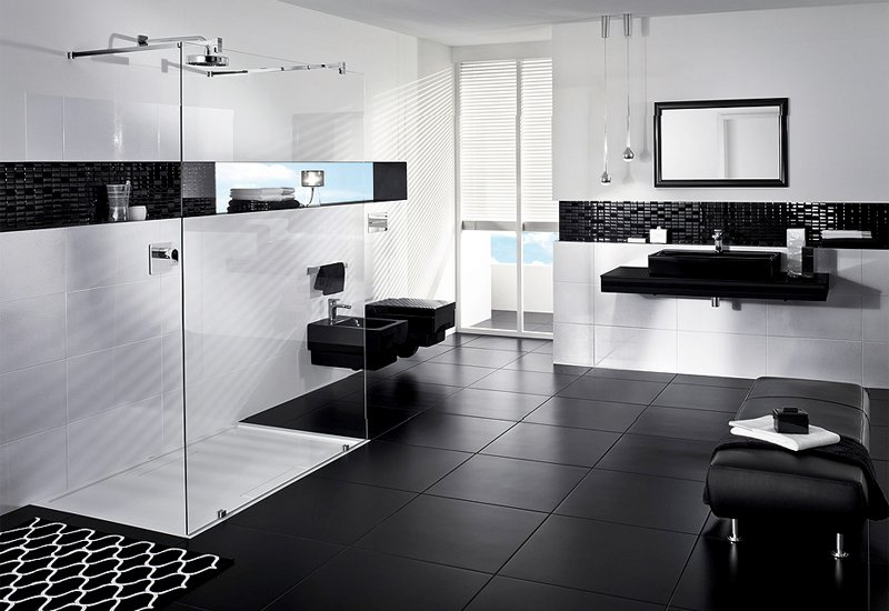 Ideas decorativas para un cuarto de baño en blanco y negro ...