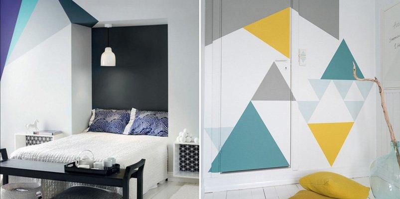 Decoraci n de paredes con formas geom tricas decoraci n - Paredes pintadas con dibujos ...