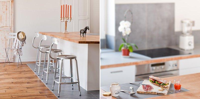 Loft parisino minimalista de 60 m2. decoración del hogar.
