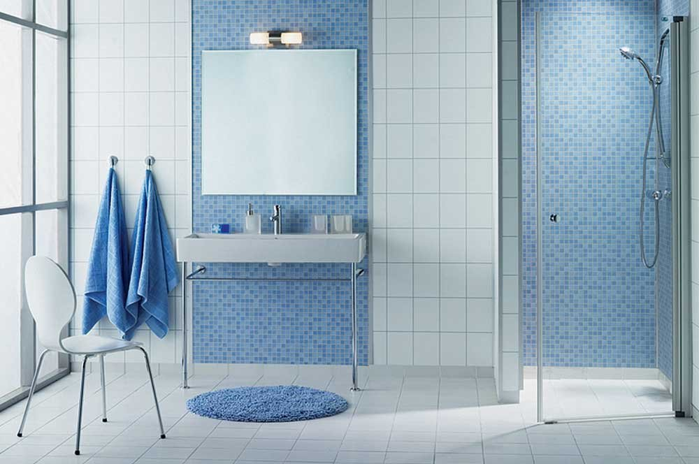 Baño Gris Decoración:Blue Bathroom Tile Design Ideas