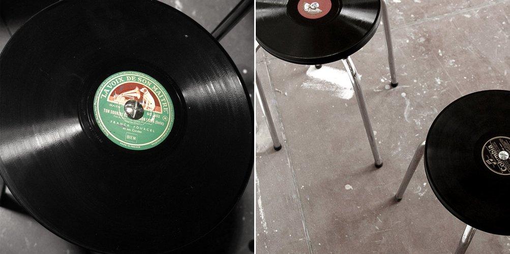 Taburetes vintage creados con discos de vinilo decoraci n - Decoracion vintage reciclado ...