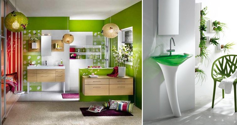 Inspiración cuartos de baño: decoración en verde ...