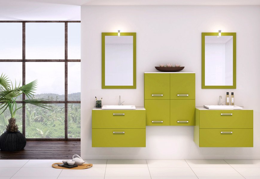 Inspiraci n cuartos de ba o decoraci n en verde ii for Muebles y decoracion online outlet