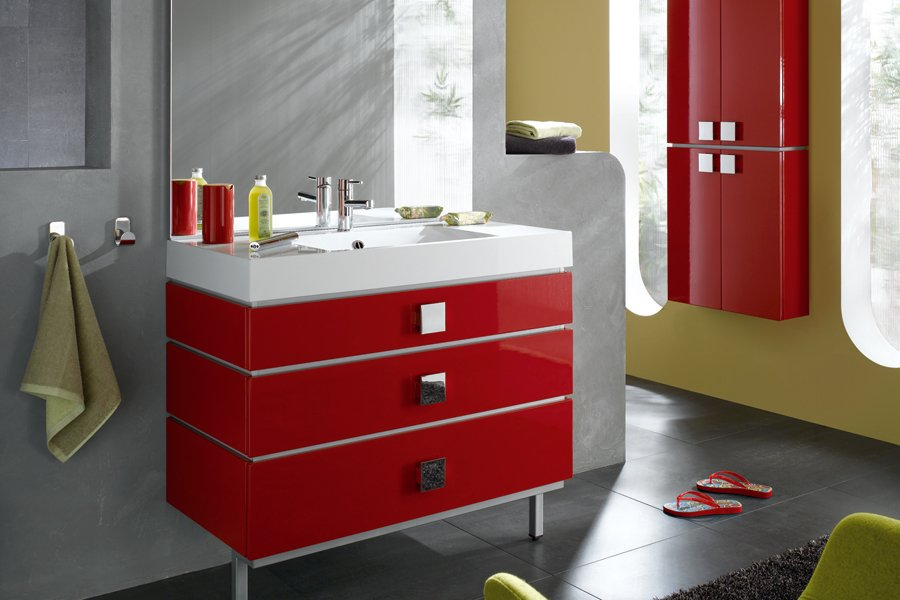 Inspiraci n para cuartos de ba o en rojo decoraci n del for Banos modernos rojos