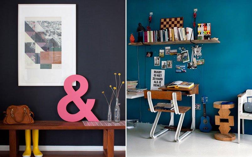 Inspiraci n para decorar las paredes con colores oscuros - Decoracion con pinturas en paredes ...