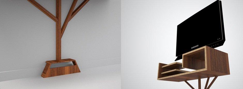 Mueble de televisi n arbre 2 0 decoraci n del hogar - Colgar la tele en la pared ...