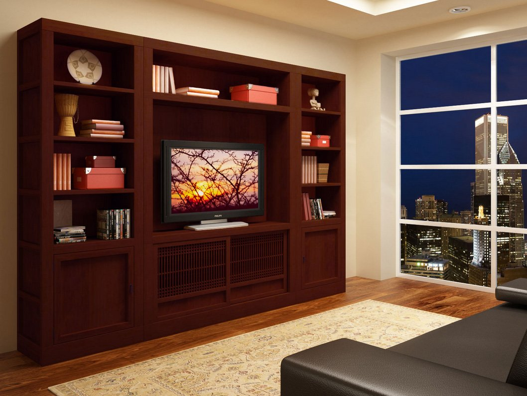 Muebles de televisi n de estilo oriental decoraci n del for Muebles de tv de madera