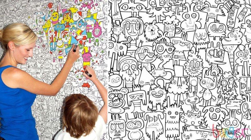 Papel pintado para colorear una habitaci n infantil for Papel decorativo pared infantil