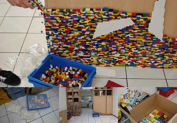Pared Fabricada Con Piezas Lego Decoraci 243 N Del Hogar