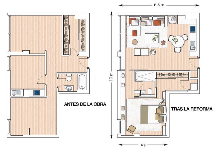 Remodelaci n de un apartamento de 53 m decoraci n del hogar for Remodelacion de apartamentos pequenos