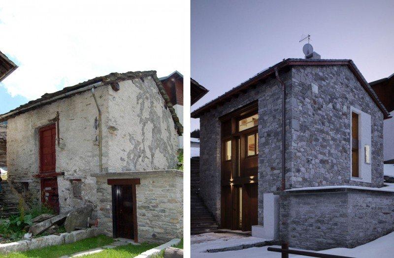 Antigua granja convertida en una casa moderna. Decoración del hogar.