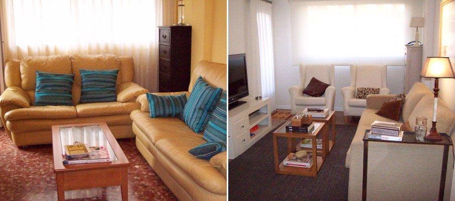 El antes y después de un salón comedor. Decoración del hogar.