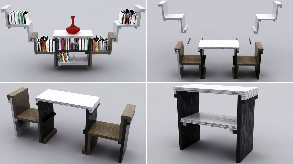 Proyectos de muebles multifuncionales decoraci n del hogar for Mueble que se convierte en mesa