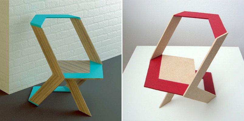 Geom trica silla plegable pattern chair decoraci n del for Sillas de oficina de diseno