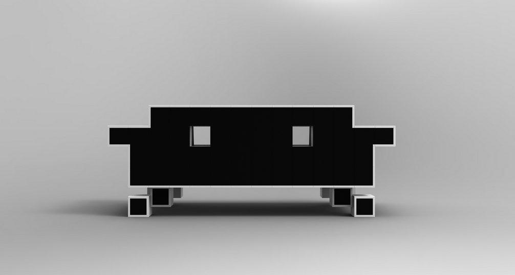 sof retro alien couch inspirado en el space invaders. Black Bedroom Furniture Sets. Home Design Ideas