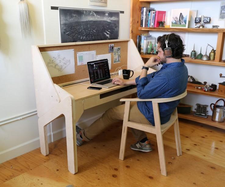 Mesa de trabajo transformable en barra de bar (2)