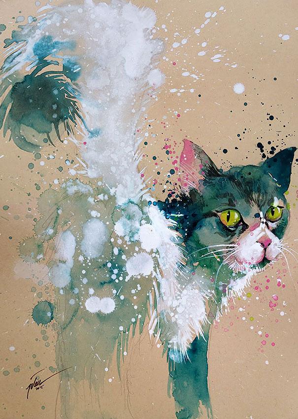Originales cuadros de animales llenos de colorido (13)
